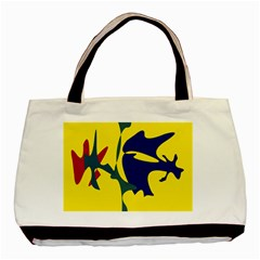 Yellow Amoeba Abstraction Basic Tote Bag by Valentinaart
