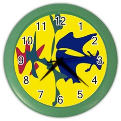 Yellow Amoeba Abstraction Color Wall Clocks