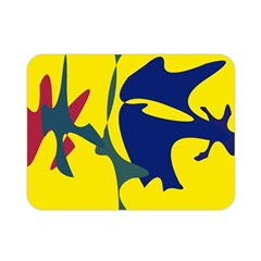 Yellow Amoeba Abstraction Double Sided Flano Blanket (mini)  by Valentinaart