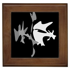 Black And White Amoeba Abstraction Framed Tiles