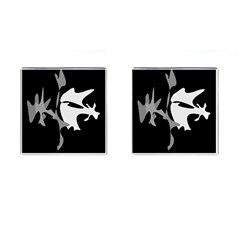 Black And White Amoeba Abstraction Cufflinks (square) by Valentinaart