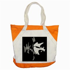 Black And White Amoeba Abstraction Accent Tote Bag by Valentinaart