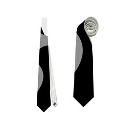 Black And White Amoeba Abstraction Neckties (two Side)  by Valentinaart