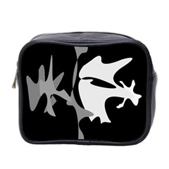 Black And White Amoeba Abstraction Mini Toiletries Bag 2 Side by Valentinaart