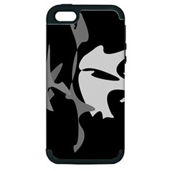 Black And White Amoeba Abstraction Apple Iphone 5 Hardshell Case (pc+silicone) by Valentinaart