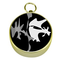 Black And White Amoeba Abstraction Gold Compasses by Valentinaart