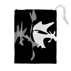 Black And White Amoeba Abstraction Drawstring Pouches (extra Large) by Valentinaart