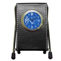 Blue Amoeba Abstraction Pen Holder Desk Clocks by Valentinaart