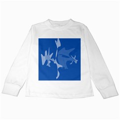 Blue Amoeba Abstraction Kids Long Sleeve T Shirts by Valentinaart