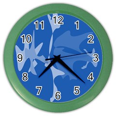Blue amoeba abstraction Color Wall Clocks by Valentinaart