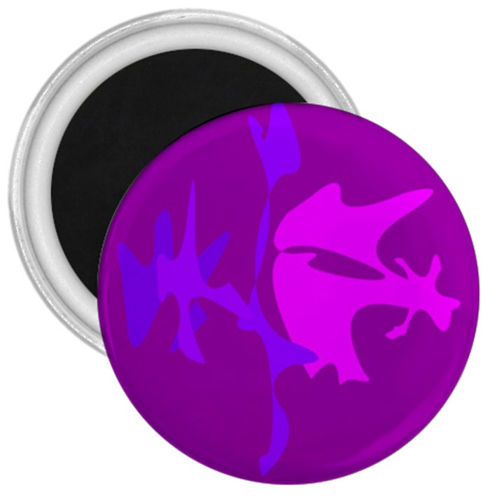 Purple, pink and magenta amoeba abstraction 3  Magnets