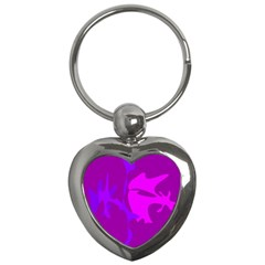Purple, Pink And Magenta Amoeba Abstraction Key Chains (heart)  by Valentinaart