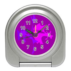 Purple, Pink And Magenta Amoeba Abstraction Travel Alarm Clocks by Valentinaart