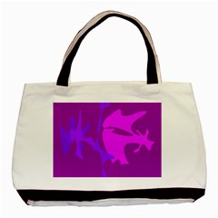 Purple, Pink And Magenta Amoeba Abstraction Basic Tote Bag by Valentinaart