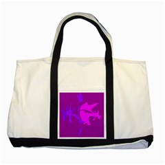 Purple, Pink And Magenta Amoeba Abstraction Two Tone Tote Bag by Valentinaart