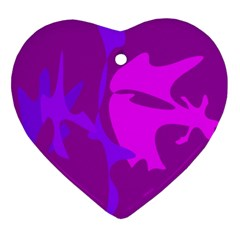 Purple, Pink And Magenta Amoeba Abstraction Heart Ornament (2 Sides) by Valentinaart