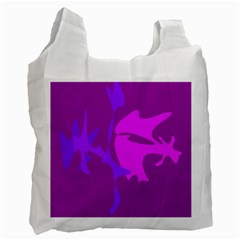 Purple, Pink And Magenta Amoeba Abstraction Recycle Bag (one Side) by Valentinaart