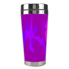 Purple, Pink And Magenta Amoeba Abstraction Stainless Steel Travel Tumblers by Valentinaart