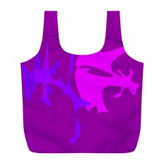 Purple, Pink And Magenta Amoeba Abstraction Full Print Recycle Bags (l)  by Valentinaart