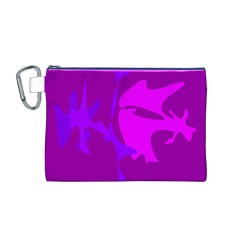 Purple, Pink And Magenta Amoeba Abstraction Canvas Cosmetic Bag (m) by Valentinaart