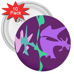 Purple Amoeba Abstraction 3  Buttons (10 Pack)  by Valentinaart