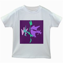 Purple Amoeba Abstraction Kids White T Shirts by Valentinaart