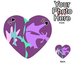 Purple Amoeba Abstraction Playing Cards 54 (heart)  by Valentinaart