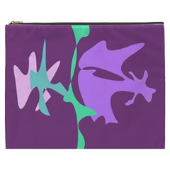 Purple Amoeba Abstraction Cosmetic Bag (xxxl)  by Valentinaart