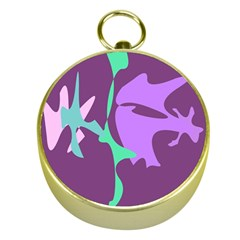Purple Amoeba Abstraction Gold Compasses by Valentinaart