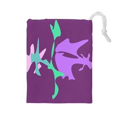 Purple Amoeba Abstraction Drawstring Pouches (large)  by Valentinaart