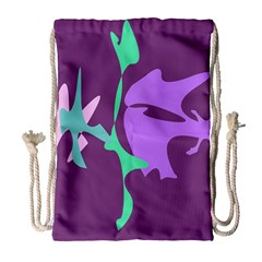 Purple Amoeba Abstraction Drawstring Bag (large) by Valentinaart