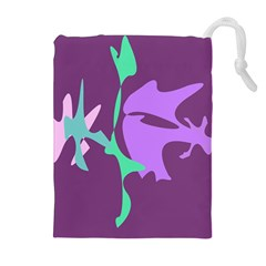 Purple Amoeba Abstraction Drawstring Pouches (extra Large) by Valentinaart