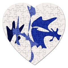 Blue Amoeba Abstract Jigsaw Puzzle (heart) by Valentinaart