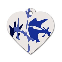 Blue Amoeba Abstract Dog Tag Heart (one Side) by Valentinaart