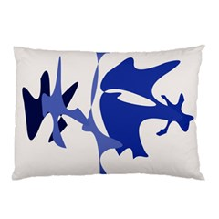 Blue Amoeba Abstract Pillow Case by Valentinaart