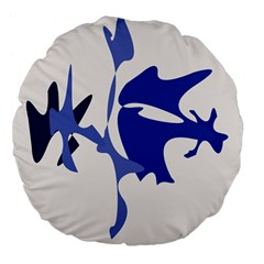 Blue Amoeba Abstract Large 18  Premium Flano Round Cushions by Valentinaart