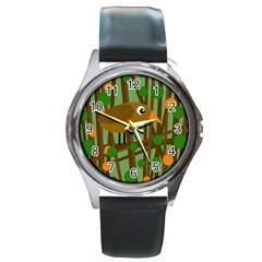 Brown Bird Round Metal Watch by Valentinaart