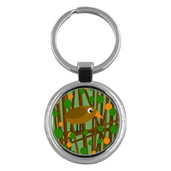 Brown Bird Key Chains (round)  by Valentinaart