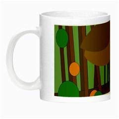 Brown Bird Night Luminous Mugs by Valentinaart