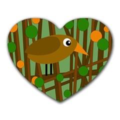 Brown Bird Heart Mousepads by Valentinaart