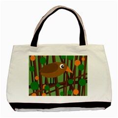 Brown Bird Basic Tote Bag (two Sides) by Valentinaart
