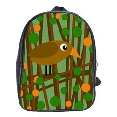 Brown Bird School Bags(large)  by Valentinaart
