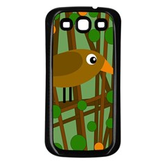 Brown Bird Samsung Galaxy S3 Back Case (black) by Valentinaart