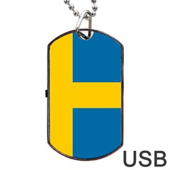 Flag Of Sweden Dog Tag Usb Flash (one Side) by abbeyz71