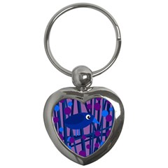 Purple Bird Key Chains (heart)  by Valentinaart