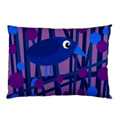 Purple Bird Pillow Case (two Sides) by Valentinaart