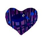 Purple bird Standard 16  Premium Flano Heart Shape Cushions Back