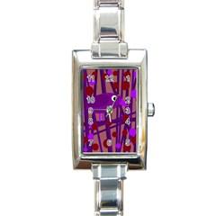 Sweet Purple Bird Rectangle Italian Charm Watch by Valentinaart