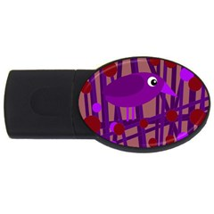 Sweet Purple Bird Usb Flash Drive Oval (4 Gb)  by Valentinaart