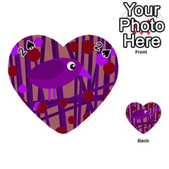 Sweet Purple Bird Playing Cards 54 (heart)  by Valentinaart